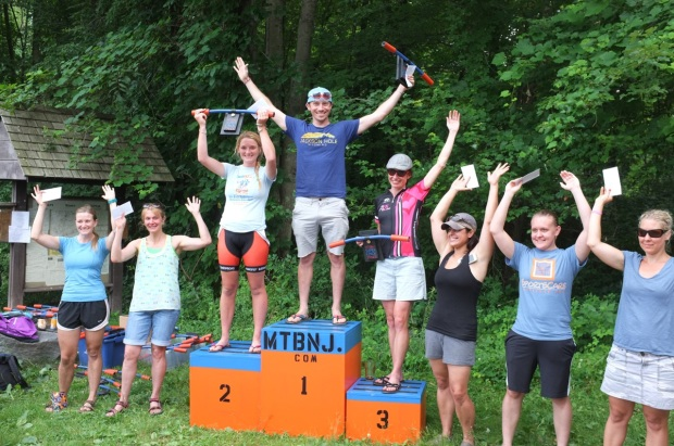 The Six Pack podium (with a stand in for first place, Jane Pearson).